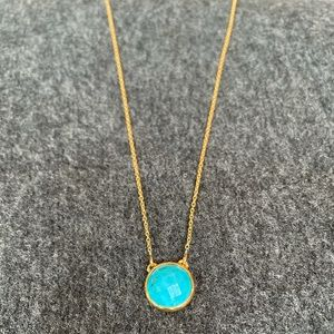 Stella & Dot gold necklace with turquoise pendant